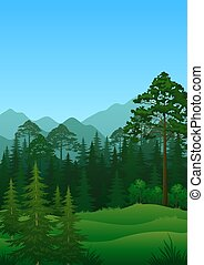 Landscape, Trees and Mountains