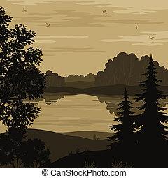 Landscape, trees and river silhouette - Evening landscape,...