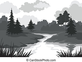 Landscape, trees and river silhouette - Landscape, trees and...
