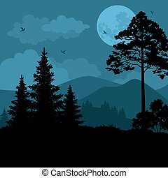 Landscape, Trees, Moon and Mountains - Night Mountain ...