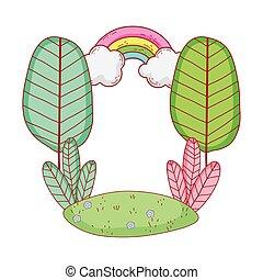 landscape trees rainbow foliage grass nature cartoon isolated icon design