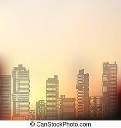 Landscape urban silhouette