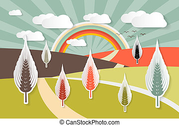 Landscape Vector Illustration with Ears of Wheat Field - Blue Sky and Paper Clouds
