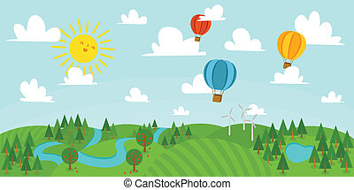 Landscape vector illustration with forest, hot air balloons, river and wind mills.