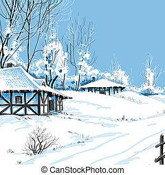 landscape, vector, winter, illustratie, besneeuwd