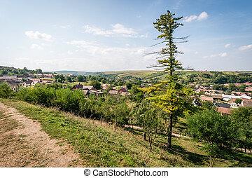 Landscape view above Slimnic, Romania