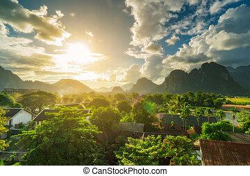 Landscape view beautiful sunset at vang vieng, Laos