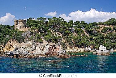 Landscape view from sea in Lloret de Mar, Costa Brava, Spain.