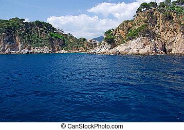 Landscape view from sea near Lloret de Mar, Costa Brava, Spain. More in my gallery.