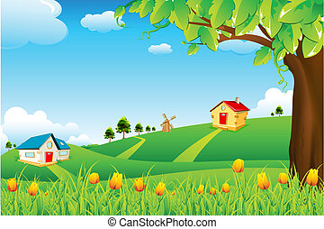 Landscape View - illustration of landscape with flowers and...