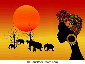 Landscape view of Africa with young African woman with turban looking to elephants and rising sun. Vector African safari concept for use it as a basic image in travel industry and nature's notes