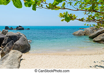 Landscape view of blue sea and sand beach