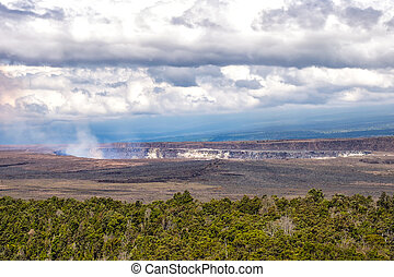 Landscape view of Kilauea volcano crater, Hawaii volcanoes...