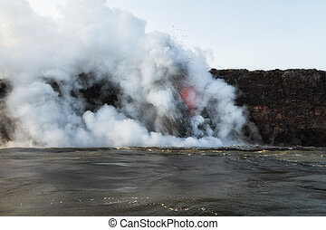 Landscape view of lava entering ocean with explosions