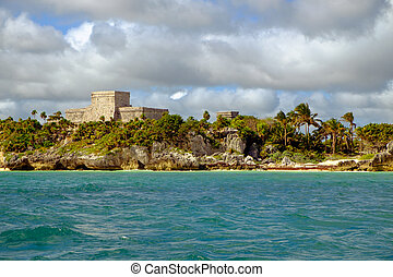 Landscape view of Mayan ruins at ocean coast of Tulum