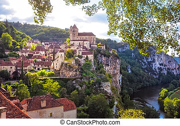 Landscape view of medieval village Saint Cirque La Popie in France