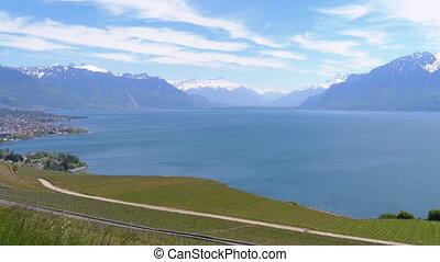 Landscape view of Montreux city with Swiss Alps, lake Geneva and vineyard on Lavaux region, Canton Vaud, Switzerland. Geneva lake near Montreux and Clarens. Swiss landscape near geneva lake. Europe