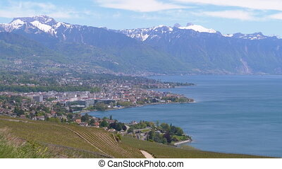 Landscape view of Montreux city with Swiss Alps, lake Geneva...