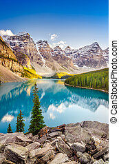 Landscape view of Moraine lake in Canadian Rocky Mountains -...