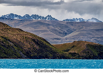 Landscape view of mountain range at Lake Tekapo, New Zealand