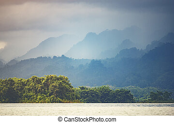 landscape view of nature, mountain forest with lake, Thailand