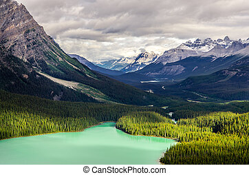 Landscape view of Peyto lake and mountains, Canada