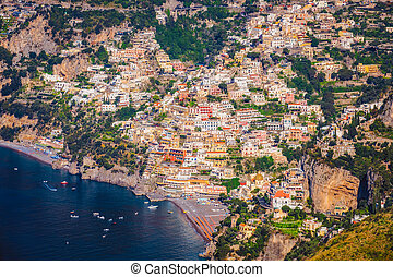 Landscape view of picteresque Positano town and Amalfi...