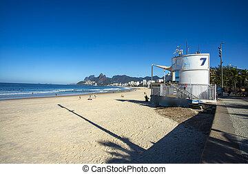 Landscape view of Rio de Janeiro with the Arpoador and Ipanema beach, Brazil.
