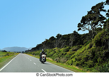 Landscape View of South Island, New Zealand - Motorbike...
