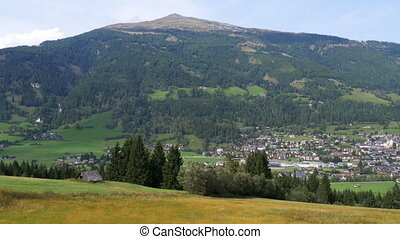 Landscape view of the Austrian city in the Alpine mountains....