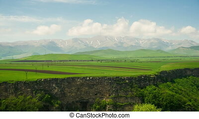 Landscape view of the Canyon, Gorge, stream and Mountains of Armenia. Time Lapse