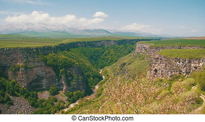 Landscape view of the Canyon, Gorge, stream and Mountains of Armenia.