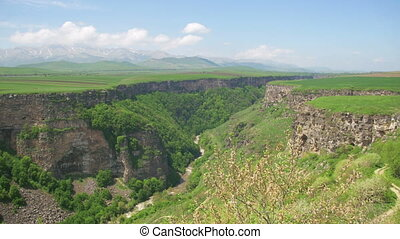 Landscape view of the Canyon, Gorge, stream and Mountains of...