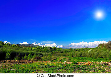 Landscape view of the Caucasus Mountains.