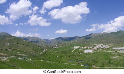 Landscape View of the City in the Mountains of Armenia. Time...