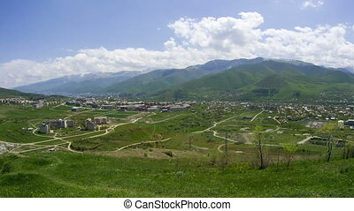 Landscape View of the City in the Mountains of Armenia. Time Lapse