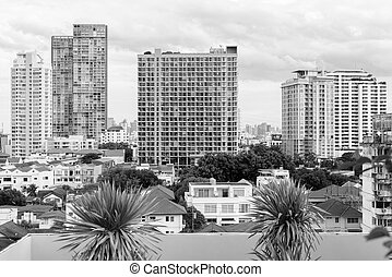 View Of The City Of Bangkok In Black And White