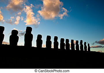 Easter Island statues in the dusk