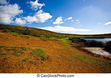 Easter Island volcano crater with small lake