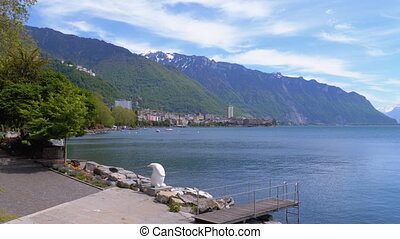 Landscape view of the Embankment of Montreux with Lake...