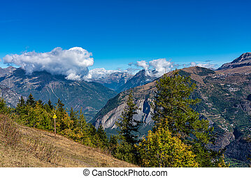 Landscape view of the mountains around Le Bourg d'Oisans in ...