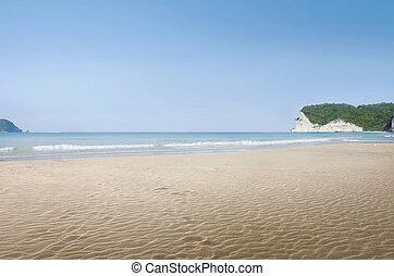 Landscape view of tropical beach with blue sea