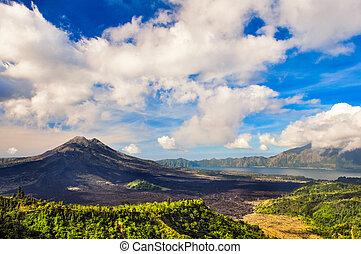 Landscape view of volcano mount Gunung Batur, Kintamani,...