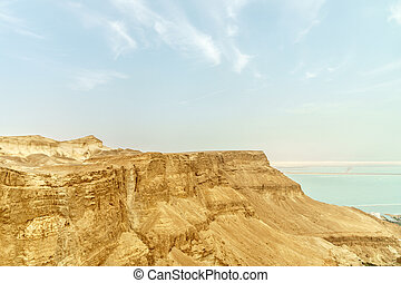 Landscape view on the dead sea from desert in Israel