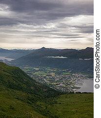 landscape view over Nordfjordeid in Norway