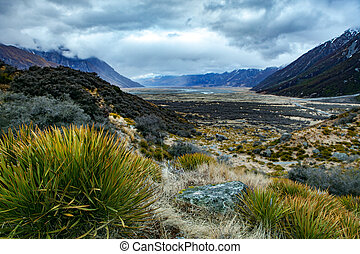 landscape view point of aoraki - mt.cook national park canterbury region in south island new zealand
