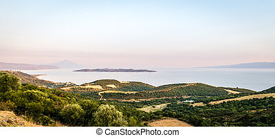 Landscape view to the Athos