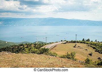 Landscape view to the Sea of Marmara in Turkey