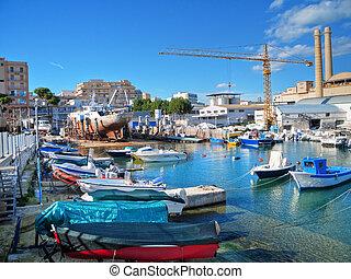 Landscape view with factory of Monopoli port. Apulia.