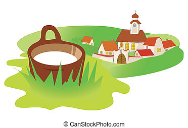 Landscape village milk - Landscape in Central Europe with...